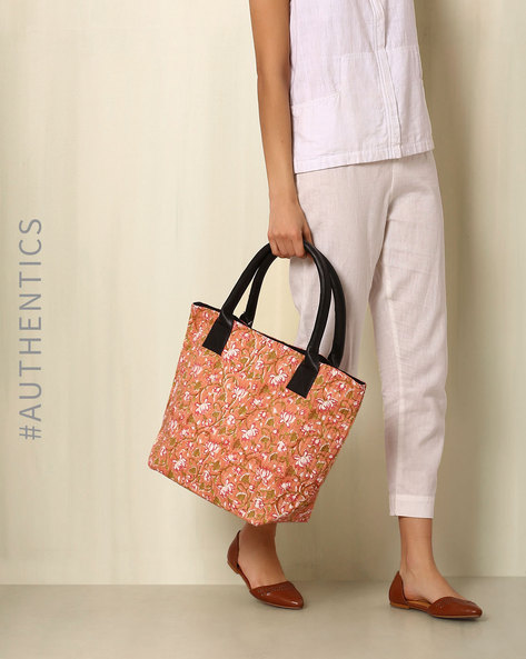 Sanganeri Handblock Print Cotton Quilted Tote Bag By Awdhesh Kumar ( Multi ) - 460052415001