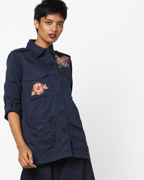 Twill Utility Shacket With Embroidery By AJIO ( Navyblue )