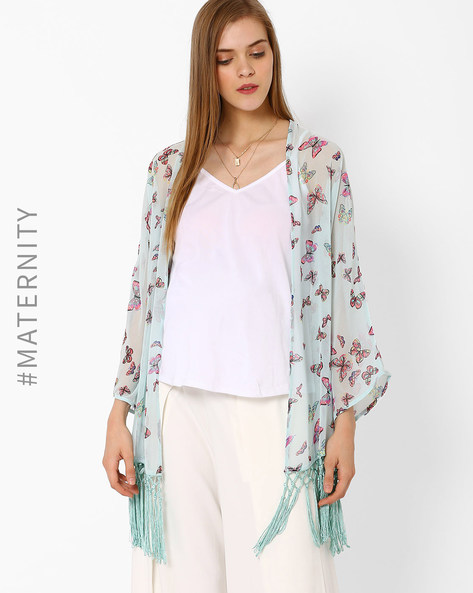 Floral Print Maternity Shrug With Tassels By Oxolloxo ( Multi )