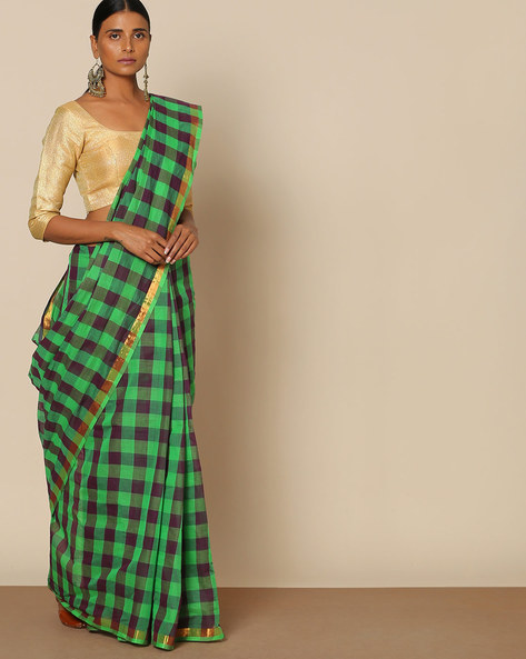 South Cotton Checked Saree With Zari Border By Indie Picks ( Green )
