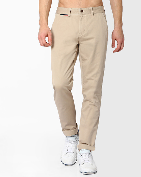 Slim Fit Cotton Twill Trousers By AJIO ( Stone )