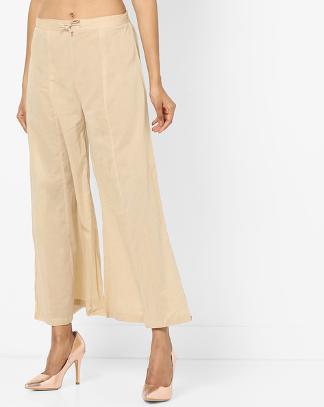 Mid-Rise Palazzos With Drawstring Waist By Biba ( Beige )
