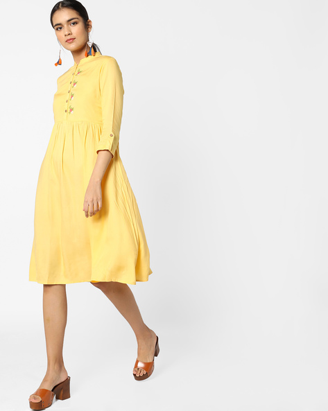 Fit & Flare Dress With Embroidery By AJIO ( Yellow )