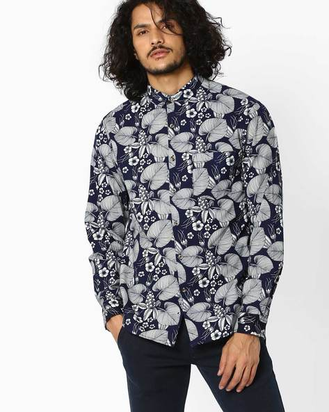 Floral Print Slim Fit Shirt By AJIO ( Navyblue )