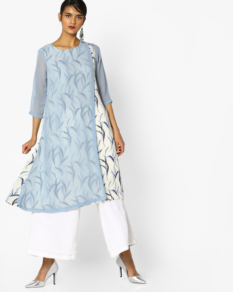 A-Line Layered Kurta By Project Eve IW Casual ( Lightblue )