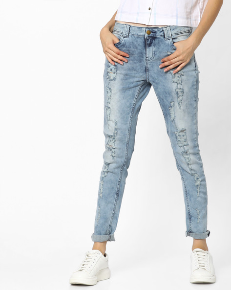 Distressed Skinny Jeans By Ginger By Lifestyle ( Lightblue )