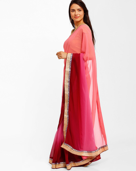 Ombre-Dyed Chiffon Saree By Florence ( Pink )