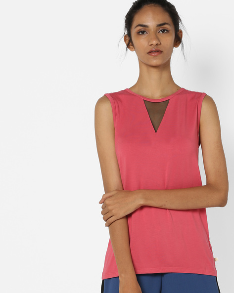 Sleeveless Crew-Neck Top By UNITED COLORS OF BENETTON ( Pink )