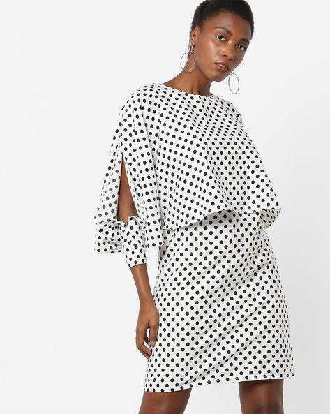 Polka-Dot Print Popover Mini Dress By AJIO ( Offwhite )