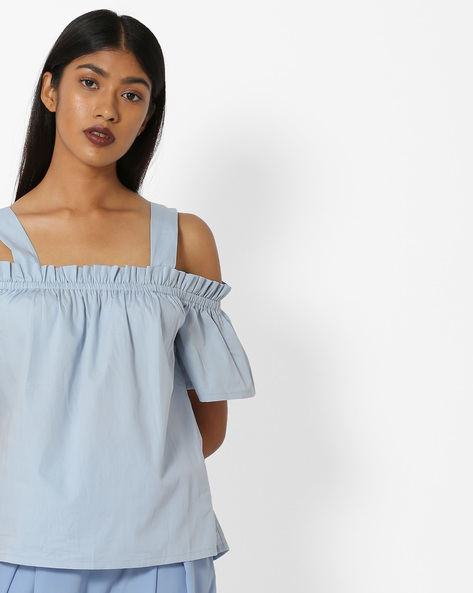 Cold-Shoulder Top With Ruffles By Only ( Lightblue )