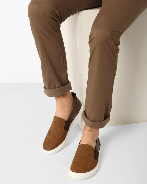 Panelled Casual Slip-Ons By AJIO ( Brown )