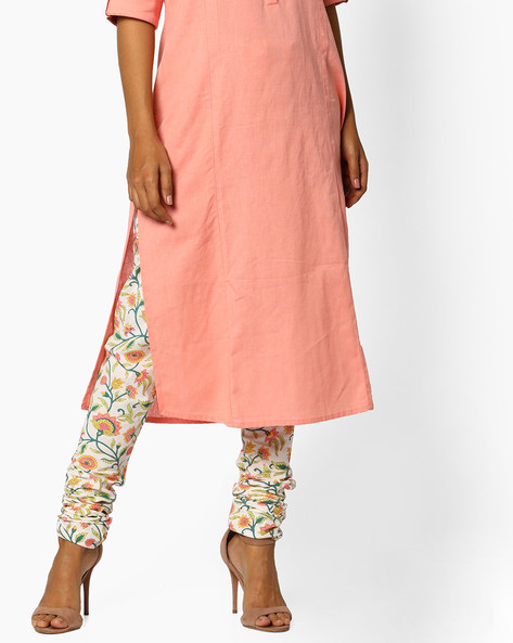 Floral Print Churidar Pants With Drawstring Waist By AJIO ( Ivory )