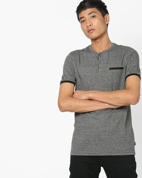 Striped Henley T-shirt With Welt Pocket By DNMX ( Charcoal )