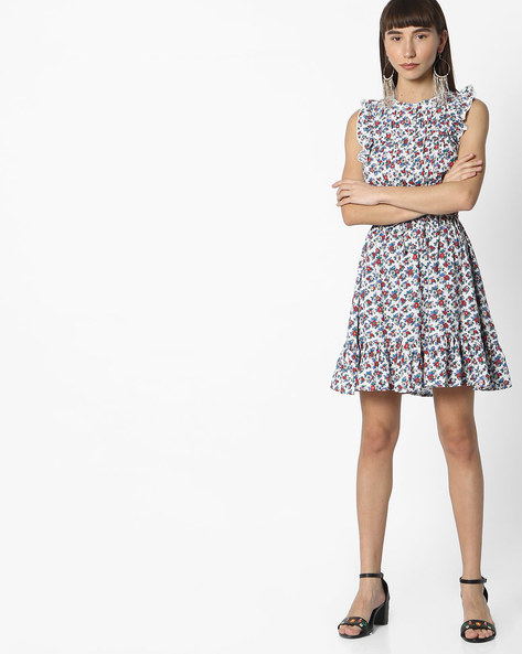 Floral Print Skater Dress With Ruffles By RIO ( White )