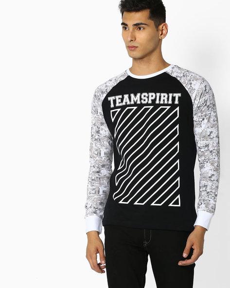Graphic Print T-shirt With Raglan Sleeves By Teamspirit ( Black )