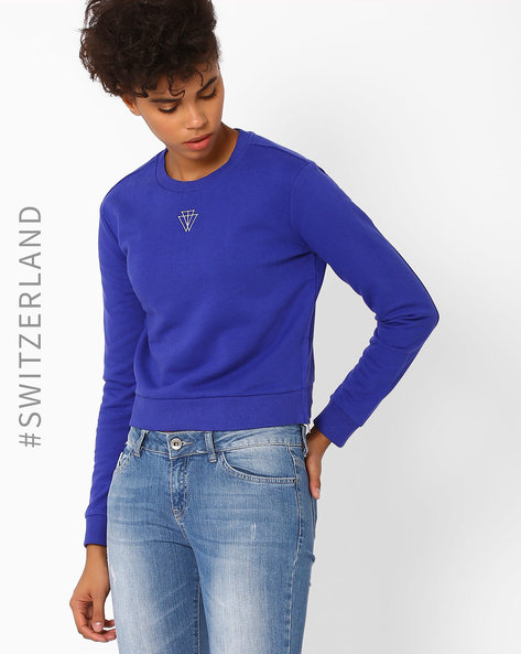 Crew-Neck Sweatshirt With Side Zippers By TALLY WEiJL ( Blue )