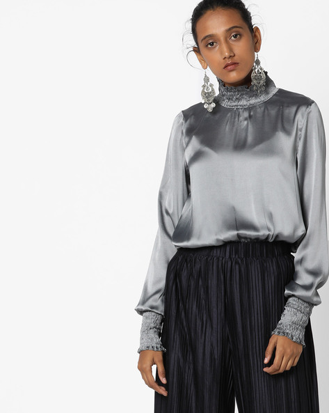 Top With Smocked Neckline By Rena Love ( Grey )