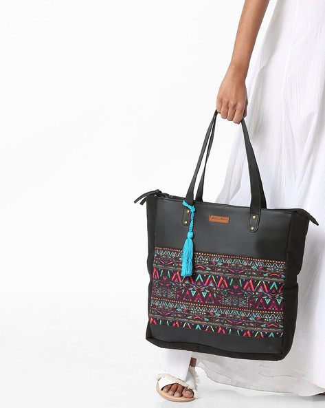 Printed Tote Bag By Kanvas Katha ( Black )