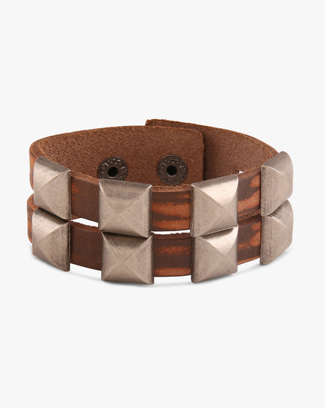 Faux Leather Bracelet With Metallic Accents By ALPHA MAN ( Brown )