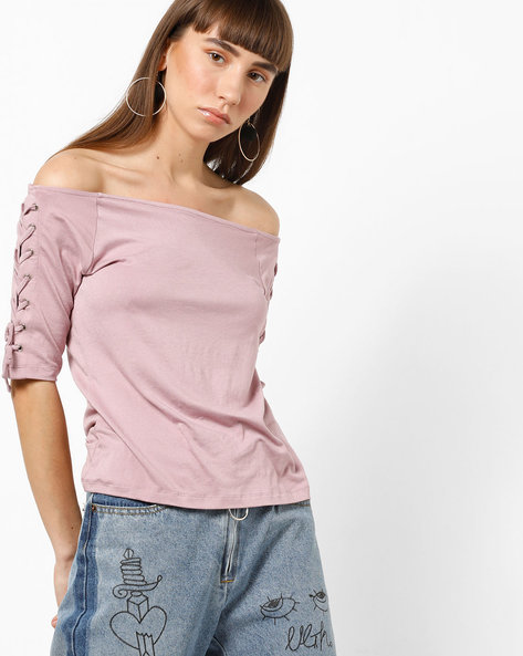 Off-Shoulder Top With Criss-Cross Tie-Ups By CODE By Lifestyle ( Lilac )