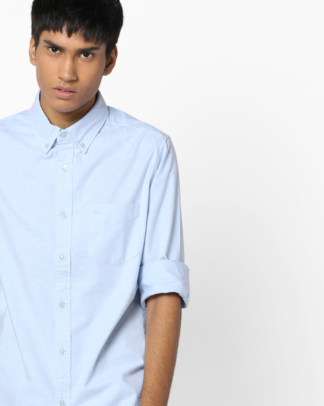 Slim Fit Oxford Shirt With Button-Down Collar By UNITED COLORS OF BENETTON ( Blue )