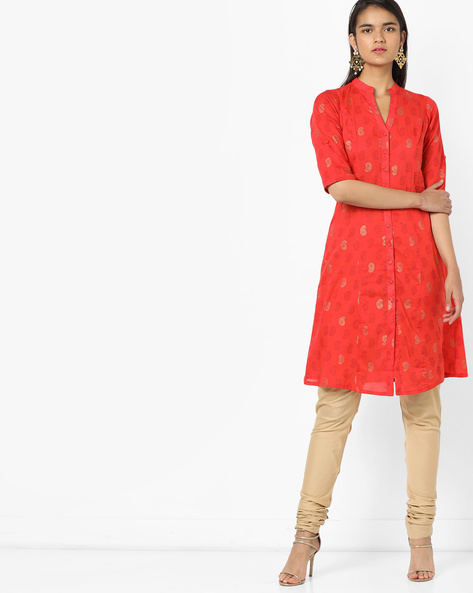 Paisley Print Kurta With Front-Slit Hem By AYAANY ( Red )