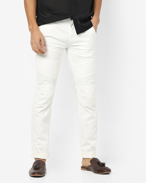 Tapered Fit Biker Trousers By DNMX ( Offwhite )
