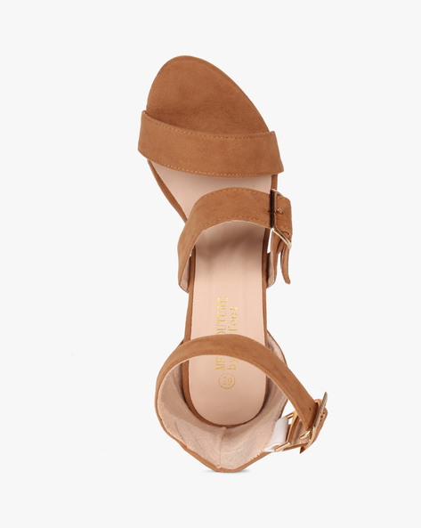 Multi-Strap Chunky Heeled Sandals By MFT Couture ( Tan )