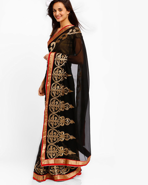 Embroidered Chanderi Cotton Saree By Brijraj ( Black )