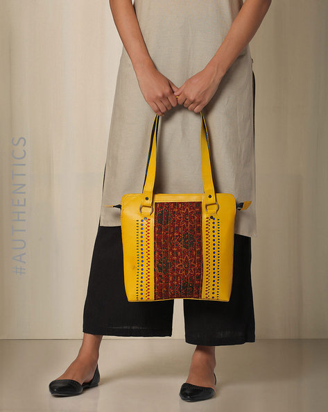 Kutch Cutwork Ajrak Leather Handbag By Indie Picks ( Yellow ) - 460033217001