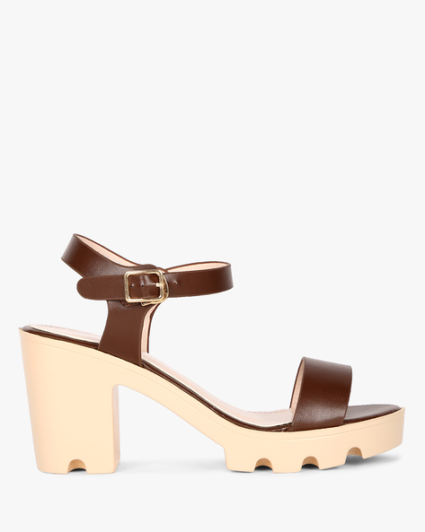 Classic Chunky Heel Sandals By MFT Couture ( Brown )