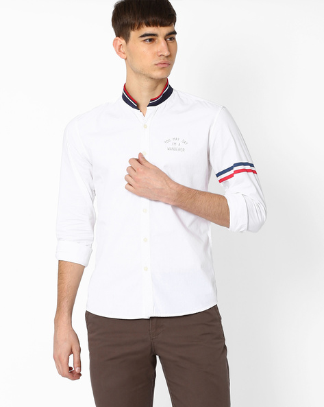 Biker Slim Shirt With Ribbed Collar By WRANGLER ( White )