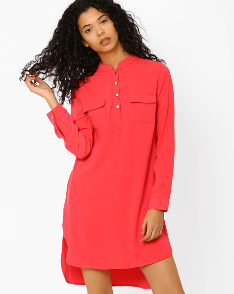 Shirt Dress With Patch Pockets By AJIO ( Coral )