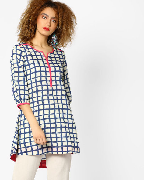 Printed High-Low Tunic By AJIO ( Blue )