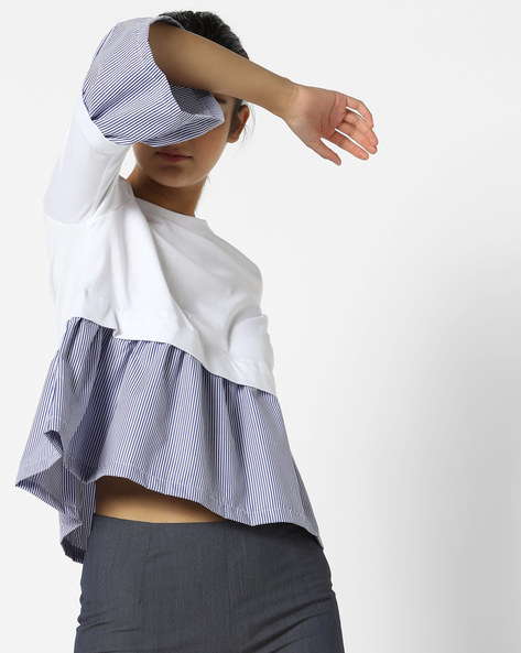 Panelled Peplum Top With Bell Sleeves By AJIO ( White )