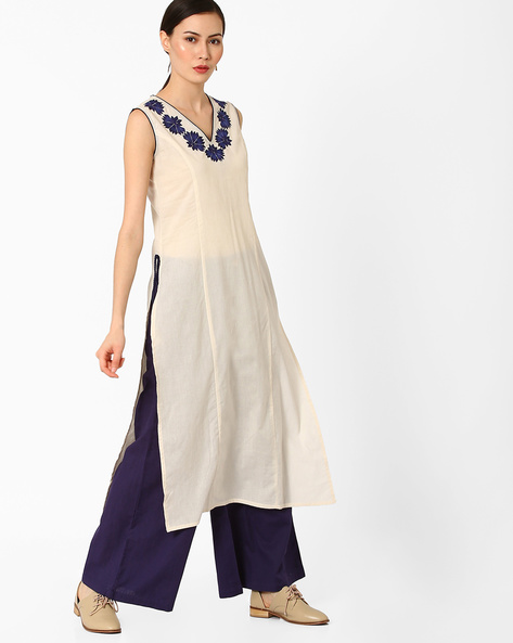 Embroidered Kurta With Mock Tie-Ups By AJIO ( Offwhite )