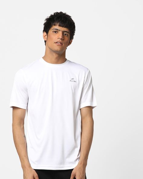 Crew-Neck T-shirt With Signature Branding By ALCIS ( White )
