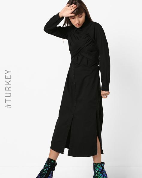 Midi Shirt Dress With Criss-Cross Tie-Up By TRENDYOL ( Black )