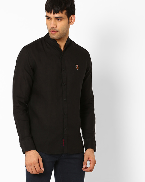 Slim Linen Shirt With Band Collar By US POLO ( Black )