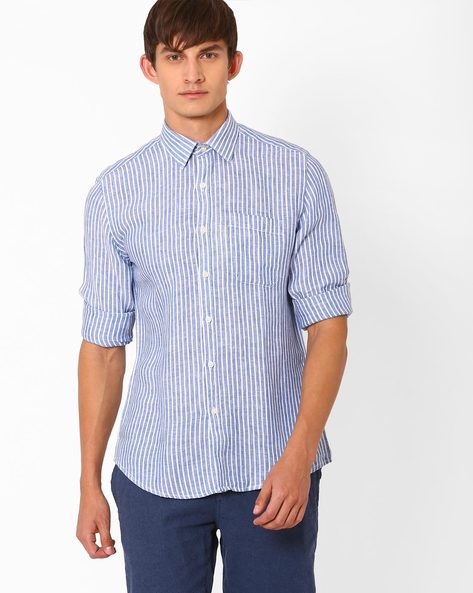 Striped Linen Shirt With Patch Pocket By NETWORK ( Blue )