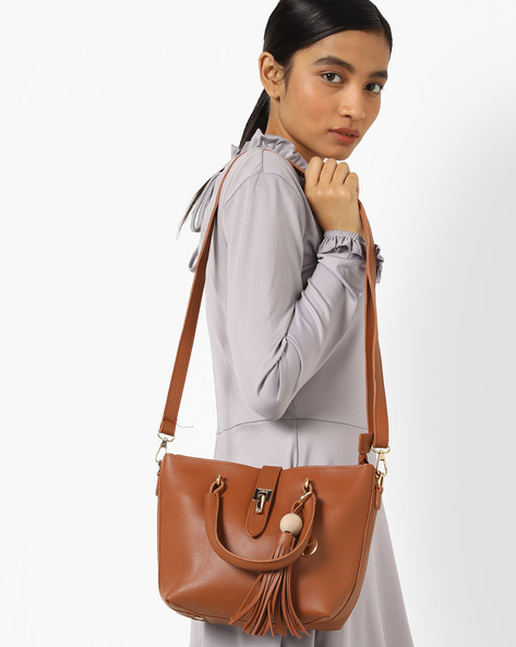 Shoulder Bag With Pouch By Lino Perros ( Tan )