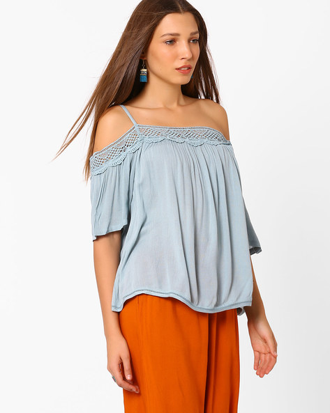 Cold-Shoulder Top With Lace By AJIO ( Blue )