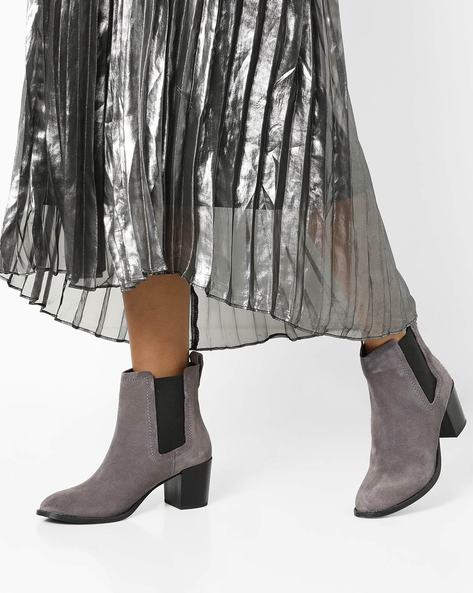 Heeled Boots With Elasticated Gusset By Carlton London ( Grey )