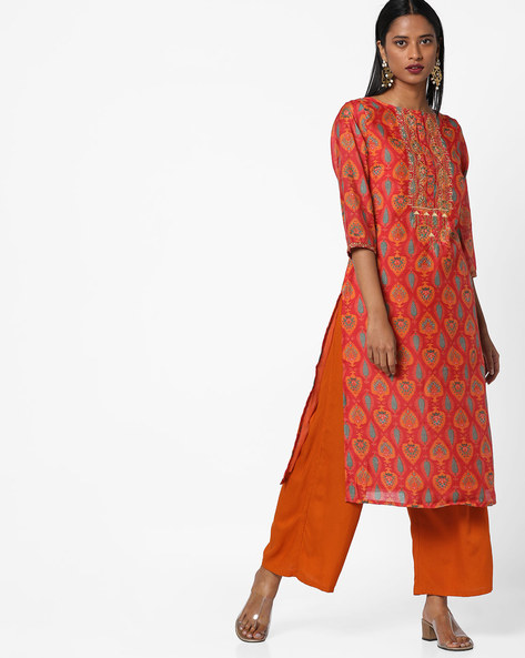 Printed Straight Kurta With Embroidery By AJIO ( Red )