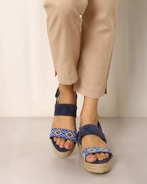 Beaded Wedge Sandals With Ankle-Strap By Indie Picks ( Navyblue )