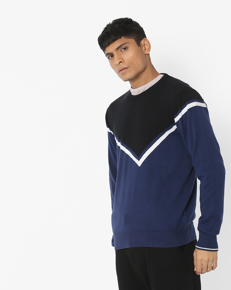 Colourblock Crew-Neck Pullover By Blue Saint ( Blue )