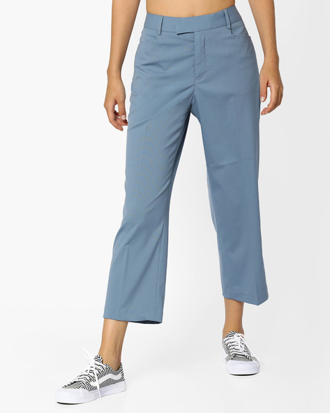 Flat-Front Cropped Trousers By CODE By Lifestyle ( Blue )
