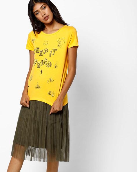 Graphic Print Crew-Neck T-shirt By AJIO ( Yellow ) - 460077860010