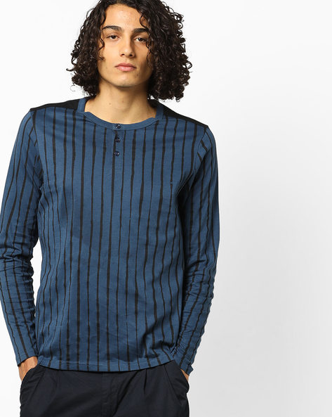 Striped Henley T-shirt With Long Sleeves By AJIO ( Darkblue )