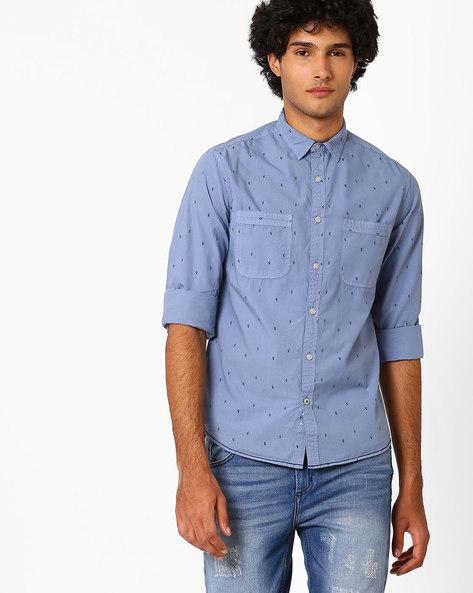 Fish Print Slim Fit Shirt By AJIO ( Blue )